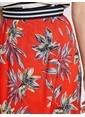Koton Çiçekli Midi Etek Kırmızı